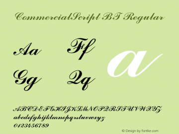 CommercialScript BT Regular mfgpctt-v4.4 Dec 22 1998 Font Sample