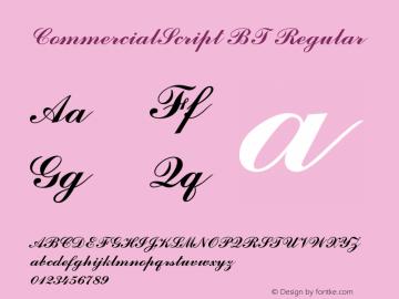 CommercialScript BT Regular mfgpctt-v1.52 Thursday, January 28, 1993 11:39:47 am (EST) Font Sample