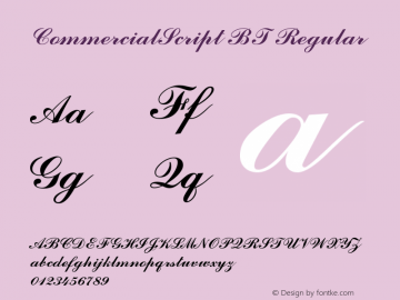 CommercialScript BT Regular Version 2.001 mfgpctt 4.4 Font Sample