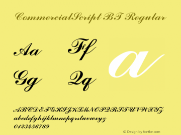 CommercialScript BT Regular Version 1.01 emb4-OT Font Sample