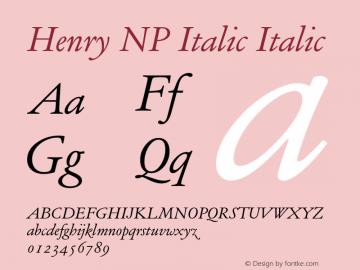 Henry NP Italic Italic Version 002.000 Font Sample