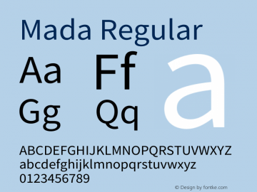 Mada Regular Version 1.003 Font Sample