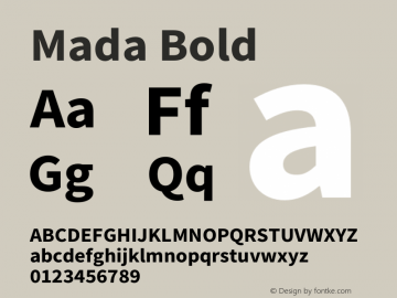 Mada Bold Version 1.003 Font Sample