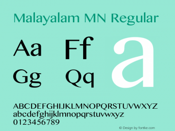 Malayalam MN Regular 12.0d1e1 Font Sample