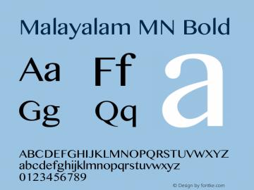 Malayalam MN Bold 12.0d1e1 Font Sample