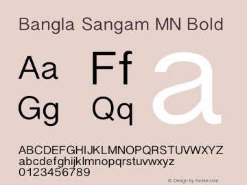 Bangla Sangam MN Bold 12.0d2e1 Font Sample
