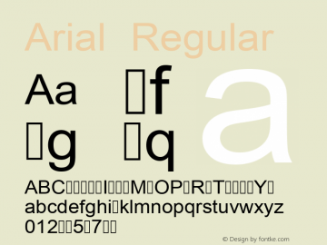 Arial Regular Version 2.82 Font Sample