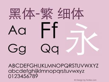 黑体-繁 细体 10.0d7e3 Font Sample