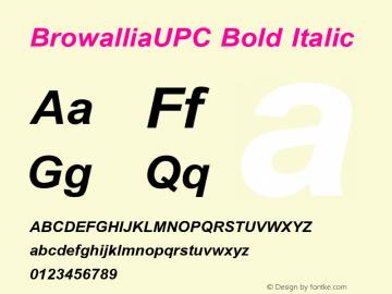 BrowalliaUPC Bold Italic Version 2.1 - July 1995 Font Sample