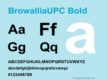 BrowalliaUPC Bold Version 2.1 - July 1995 Font Sample