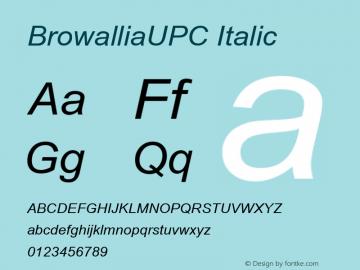 BrowalliaUPC Italic Version 2.1 - July 1995 Font Sample