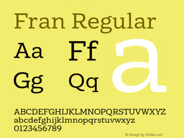 Fran Regular Version 1.001图片样张