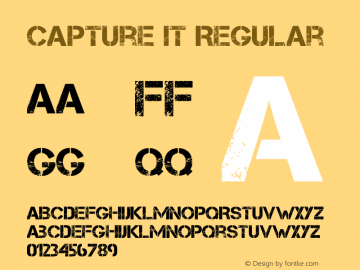 Capture it Regular Version 1.6 Aug 5, 2009, initial release Font Sample
