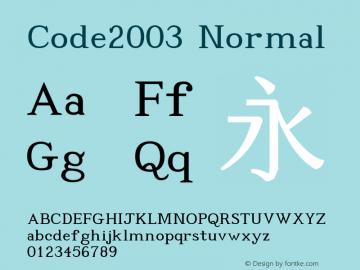 Code2003 Normal Version 1.171 Font Sample