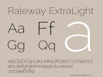 Raleway ExtraLight Version 2.001 Font Sample