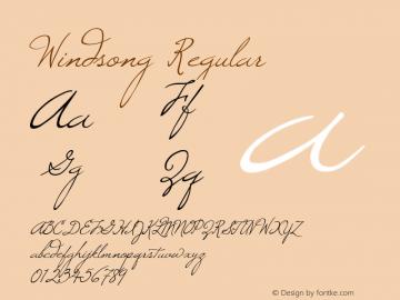 Windsong Regular Macromedia Fontographer 4.1 8/5/98 Font Sample