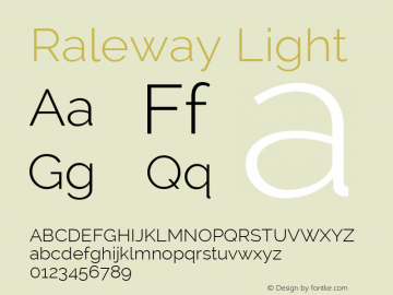 Raleway Light Version 2.001 Font Sample