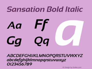 Sansation Bold Italic Version 1.301 Font Sample