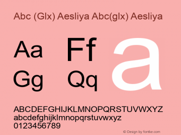 Abc (Glx) Aesliya Abc(glx) Aesliya Version 1.0 by Glx 2000.7 Font Sample
