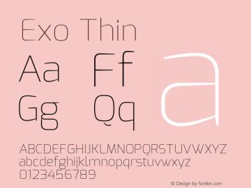Exo Thin Version 1.00 Font Sample