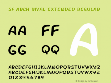 SF Arch Rival Extended Regular ver 1.0; 2000. Freeware. Font Sample
