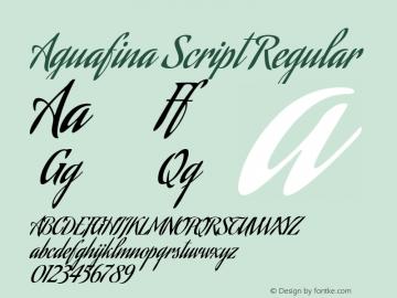 Aguafina Script Regular Version 1.000 Font Sample