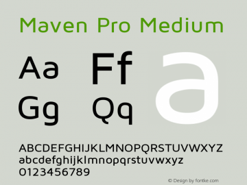 Maven Pro Medium Version 1.003 Font Sample