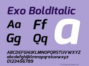 Exo BoldItalic Version 1.00 Font Sample