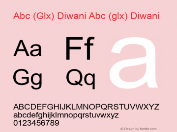 Abc (Glx) Diwani Abc (glx) Diwani Version 1.0 by Glx 2000.7 Font Sample