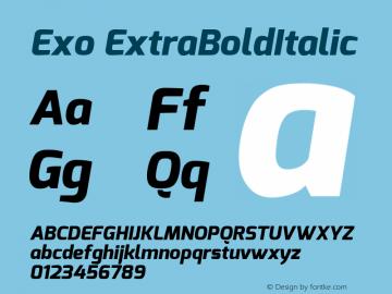 Exo ExtraBoldItalic Version 1.00 Font Sample