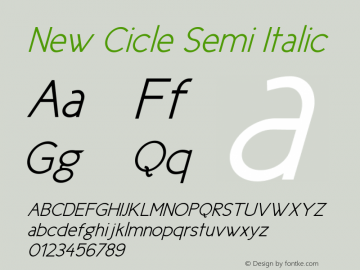 New Cicle Semi Italic Version 001.000 Font Sample