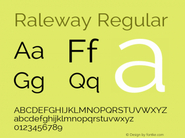 Raleway Regular Version 2.001 Font Sample