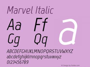Marvel Italic Version 1.001 Font Sample