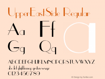 UpperEastSide Regular Converted from f:\x\UPPEREAS.TF1 by ALLTYPE Font Sample