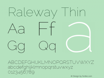 Raleway Thin Version 2.001 Font Sample