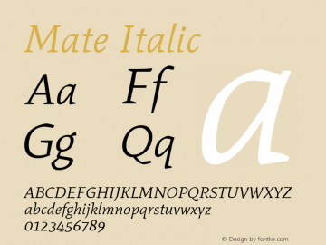Mate Italic Version 1.002 Font Sample