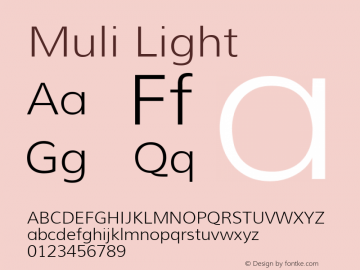 Muli Light Version 1.000 Font Sample