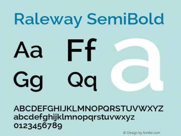 Raleway SemiBold Version 2.001 Font Sample