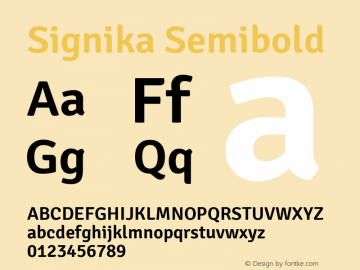 Signika Semibold Version 1.001 Font Sample