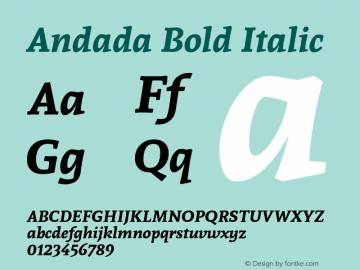 Andada Bold Italic Version 1.003 Font Sample