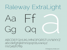 Raleway ExtraLight Version 2.001 Font Sample