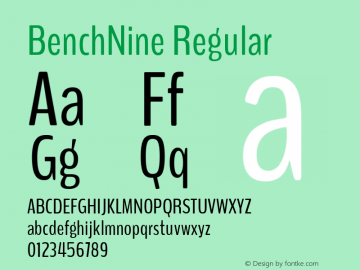BenchNine Regular Version 1 Font Sample