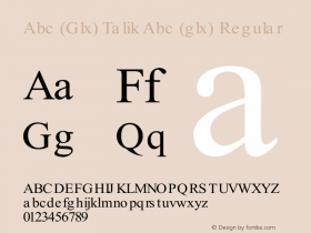 Abc (Glx) Talik Abc (glx) Regular Glx (Glx) Talik 1.0 Font Sample