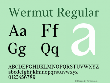 Wermut Regular Version 1.000 Font Sample