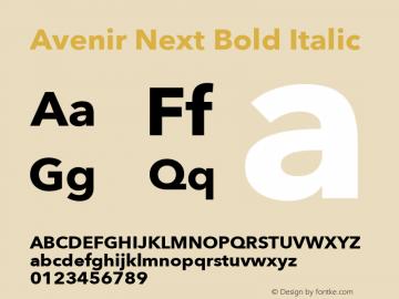 Avenir Next Bold Italic 12.0d1e9 Font Sample