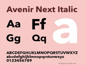 Avenir Next Italic 12.0d1e9 Font Sample