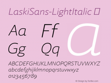 LaskiSans-LightItalic ☞ Version 1.000;com.myfonts.easy.re-type.laski-sans.light-italic.wfkit2.version.4yDW图片样张
