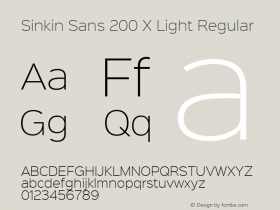 Sinkin Sans 200 X Light Regular Sinkin Sans (version 1.0)  by Keith Bates   •   © 2014   www.k-type.com图片样张