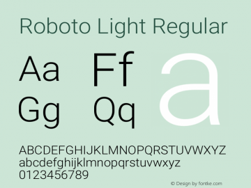 Roboto Light Regular Version 2.001151; 2014图片样张
