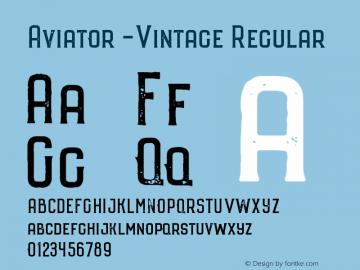 Aviator -Vintage Regular Version 1.000;PS 001.000;hotconv 1.0.70;makeotf.lib2.5.58329 DEVELOPMENT图片样张